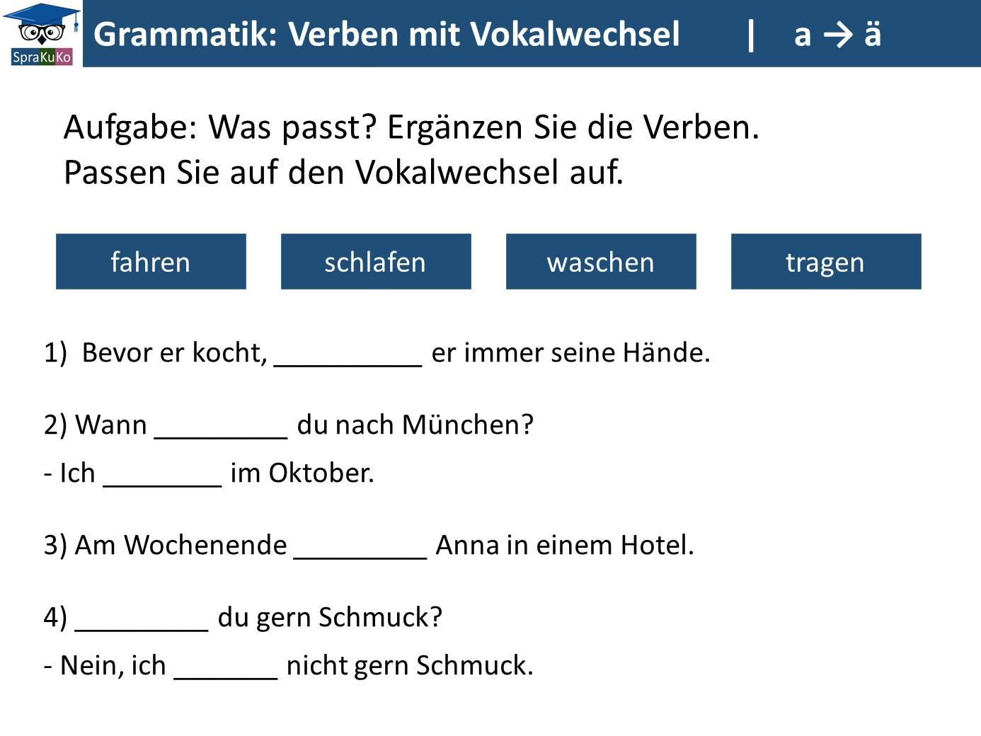 Verben mit Vokalwechsel_ÜBUNG (a zu ae)
