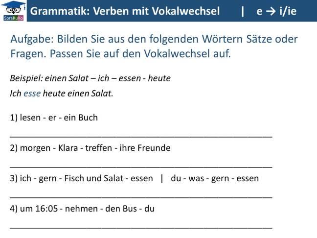 Verben mit Vokalwechsel_ÜBUNG e zu i oder ie (