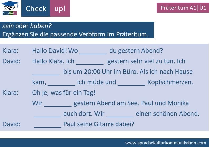 Check up Präteritum sein und haben (1)