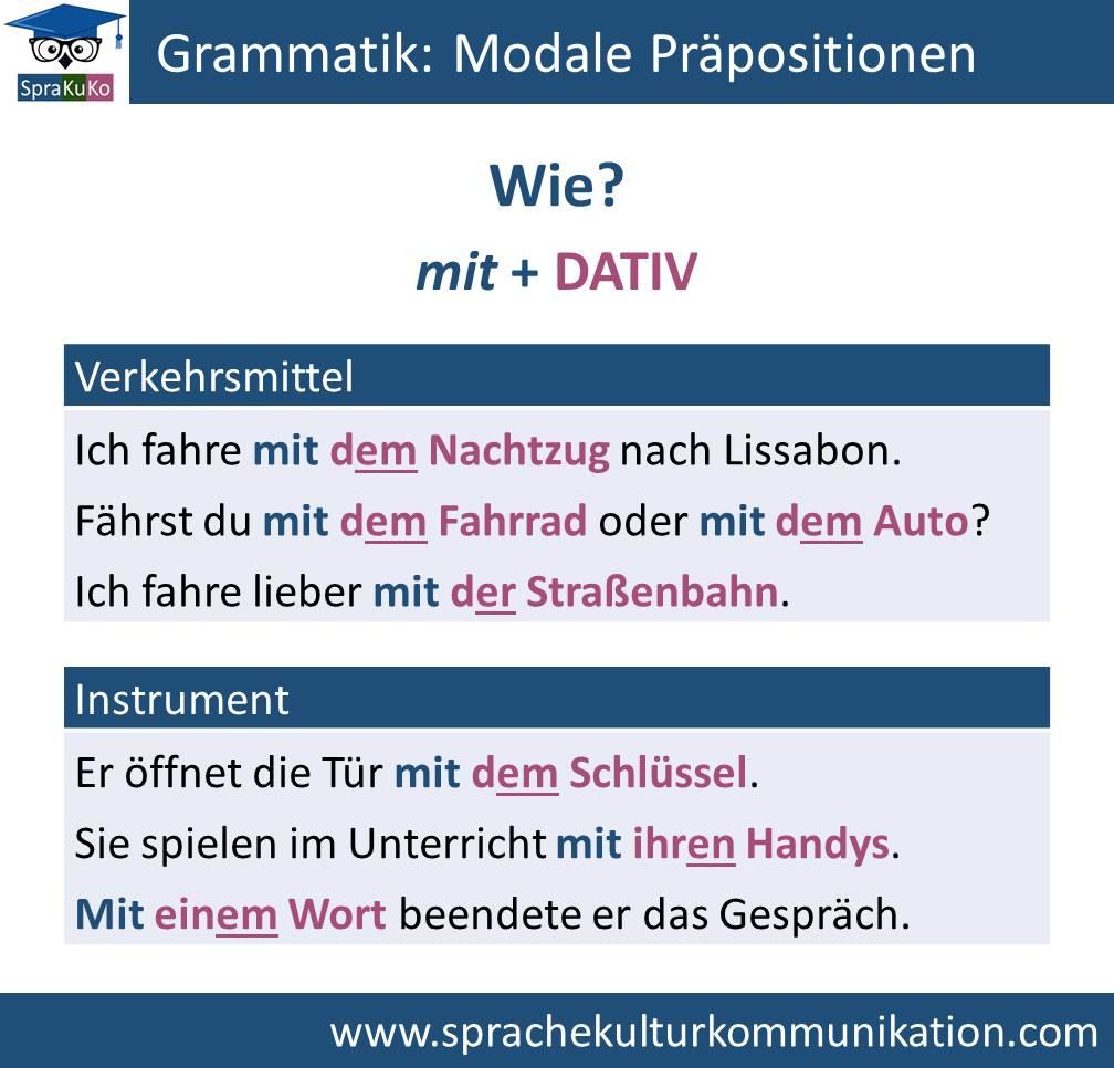 Grammatik Modale Präpositionen (Wie)