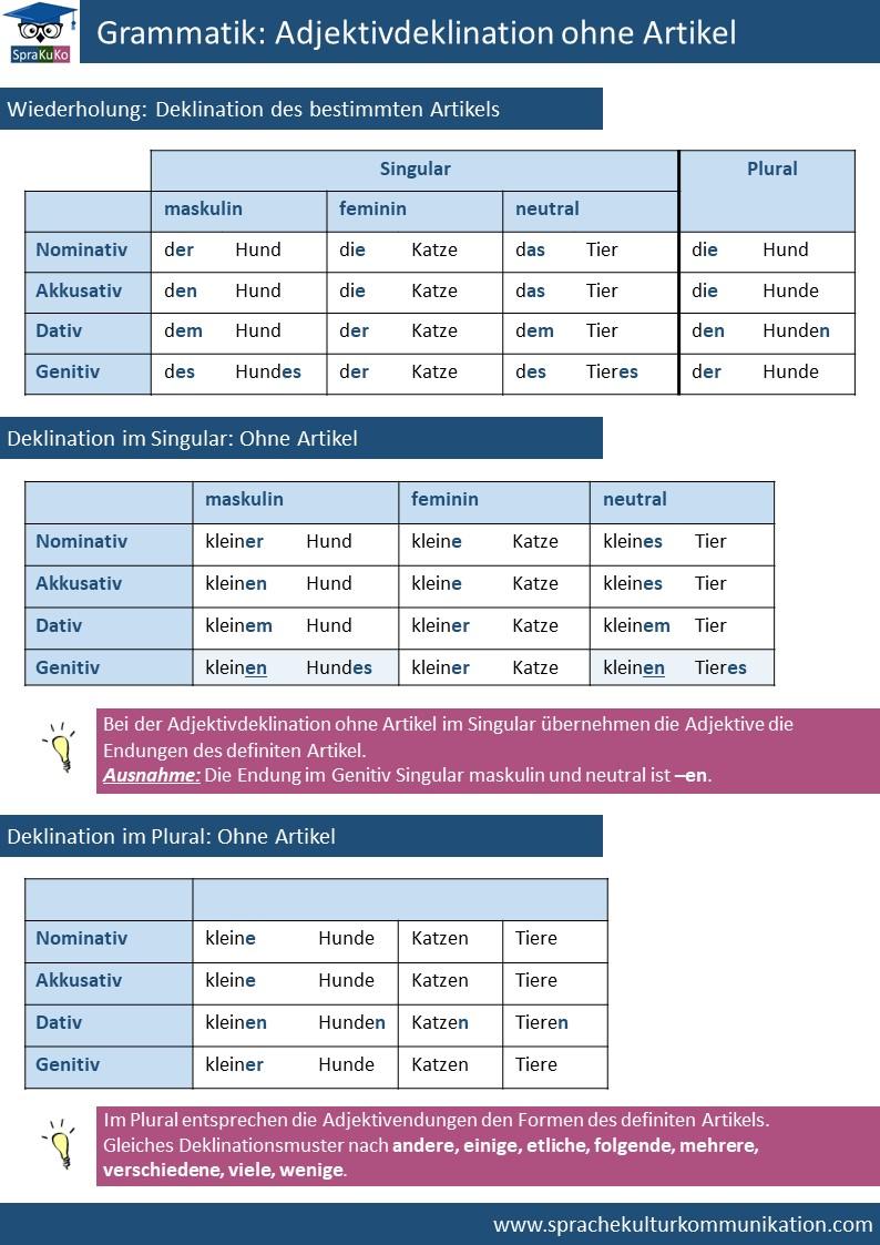 Deutsch Lernen Adjektive Ohne Artikel Deklination