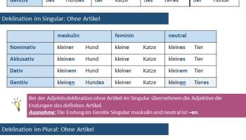 Deutsch Lernen Adjektivdeklination übersicht Daf Daz