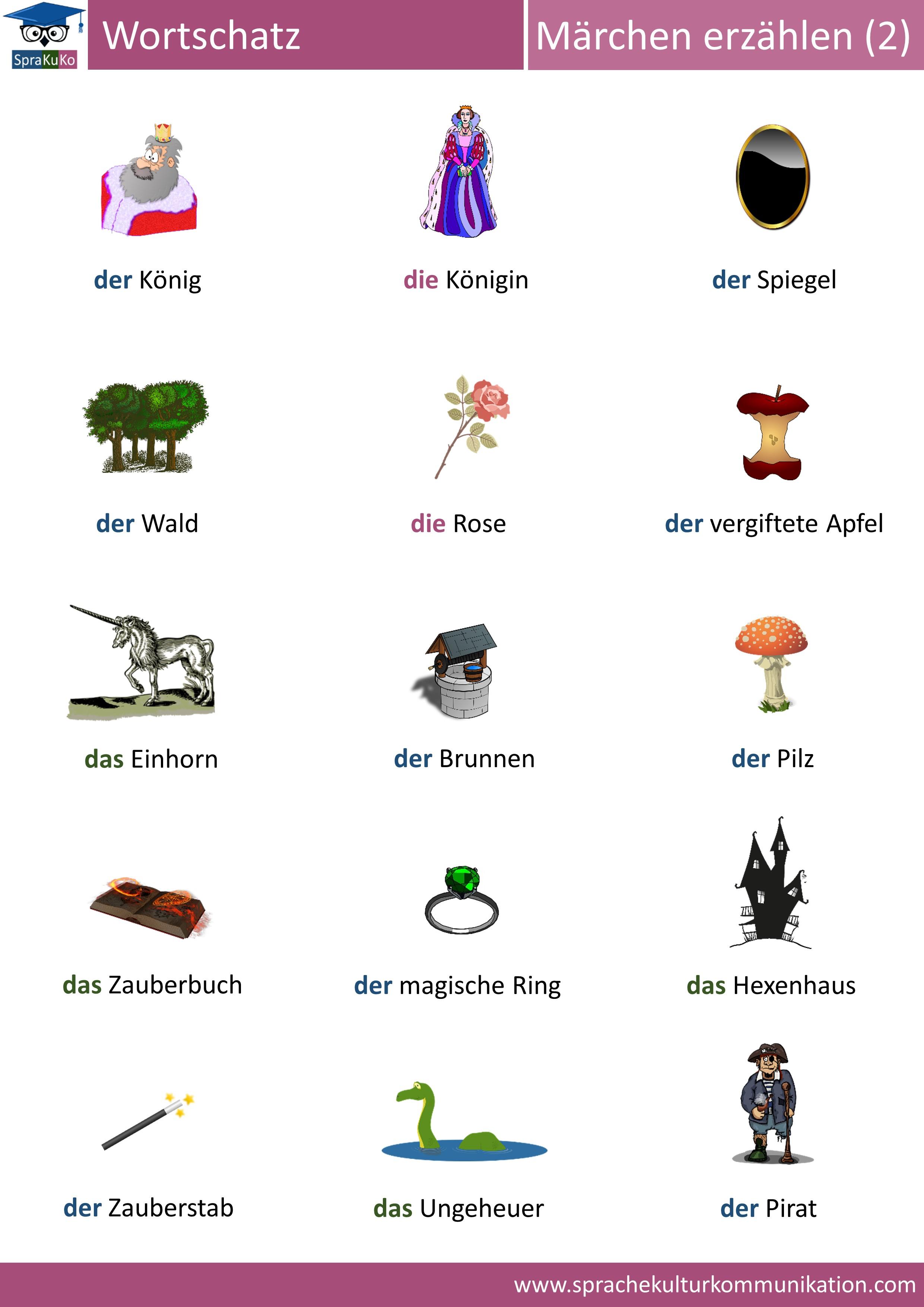 Wortschatz Märchen erzählen Teil 2