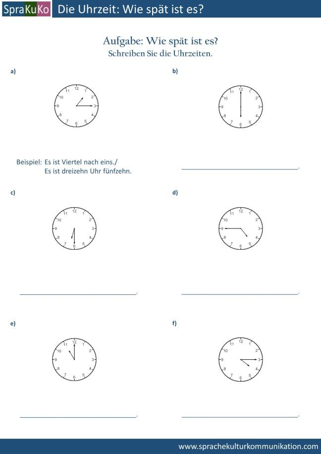 Übung die Uhrzeit schreiben