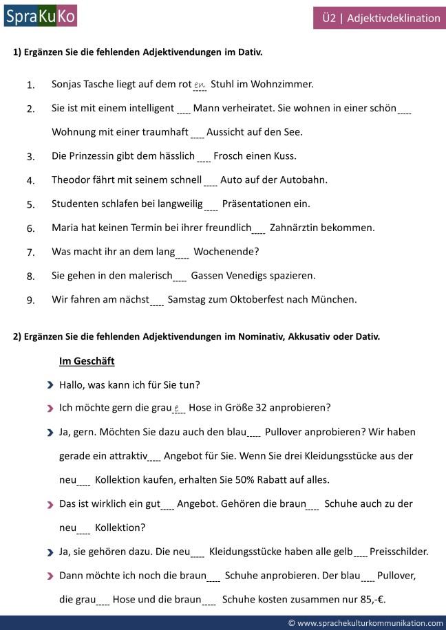 übung Zur Adjektivdeklination Mit Artikel Im Nominativ Akkusativ